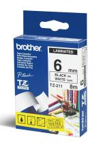 Brother TZE-211 laminált P-touch szalag (6mm) Black on White - 8m